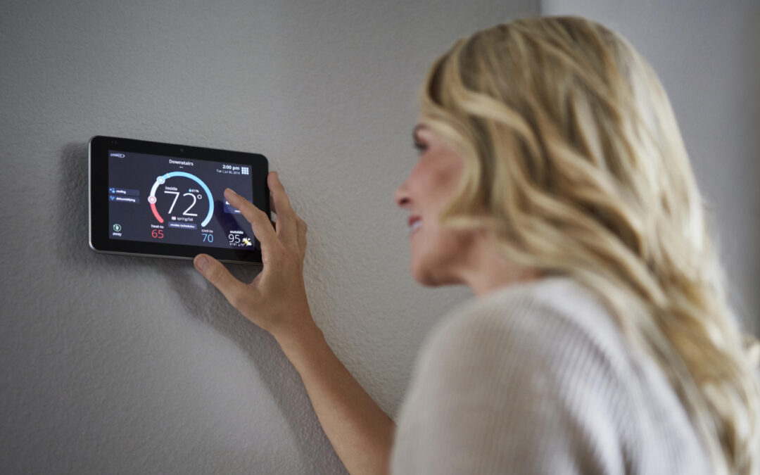 Woman operating smart thermostat
