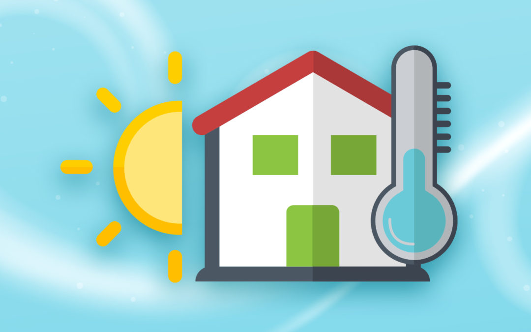 Illustration of sun, house, and thermometer